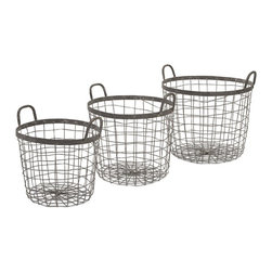 "IMAX - Metro Wire Baskets - Set of 3 - Industrial arts: A trio of wire baskets works hard to serve up a new take on an old idea in storage. Dimensions:(9.5-11-12.5""h x 11.75-13.75-15.75""d)"