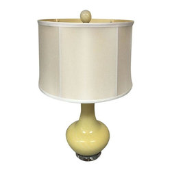 Pre-owned Arteriors Yellow Murano Glass Lamp with Shade - A new Arteriors yellow Murano glass lamp with matching shade and finial. This art glass lamp will look great with any decor from the vintage-inspired to contemporary or traditional. 3-way lighting max 150 watts.