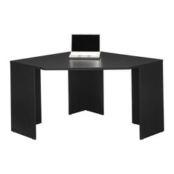 Bush - Corner Desk - Classic Black finish. Smart, clean design. Compact, space-saving footprint. Ample desk surface for spreading out work. Perfect for home use. 63.50 in. W x 47.52 in. L x 29.33 in. HWhen space is at a premium and you need a compact yet functional workstation, think Stockport.