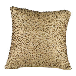 Brandi Renee Design - Gold Beaded Pillow - Our golden beaded pillow is a decorative piece with a variety of colored beads such as dark brown, bronze, gold and light brown that stand out among the surface of the pillow that give it a unique touch. On the back of the pillow is a smooth and sleek color of yellow gold silk with access to a zipper for the purpose of taking off the cover to be dry cleaned.