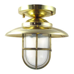 Shiplights - Hooded Flush Mount Light - (Solid Brass / Interior & Exterior by Shiplights) - Our Hooded Flush Mount Light is made of solid brass and can be used indoors or outdoors in a wide variety of applications.