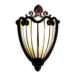 Kichler - Clarice Tannery Bronze Art Glass Wall Sconce - Create an ornate focal point on your wall with this lavish sconce.  Warm beige art glass with lines of bronze curves graciously and glows warmly to make this piece an excellent choice for lighting your space. Kichler - 69043