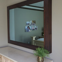 """In-Mirror TVS - Specifications: 5"""" Shaker frame in Walnut, exterior dimensions 72"""" x 53"""" interior dimensions 55"""" x 37"""" with a 55"""" Samsung TV and a Sonos automated sound bar."""