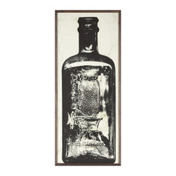 Kathy Kuo Home - Copper River Industrial Loft Bottle Black White Photo Wall Art - A - Framed - Time in a bottle. Aged to perfection, this piece of artwork is a must-have for your collection. The grainy photo's subject matter is a bottle dating back 200 to 300 years that was discovered in Alaska. Perfect anywhere, but especially cool in an industrial loft or other contemporary space.