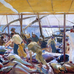 "Joaquin Sorolla Y Bastida The Tunny Catch - 16"" x 24"" Premium Archival Print - 16"" x 24"" Joaquin Sorolla Y Bastida The Tunny Catch premium archival print reproduced to meet museum quality standards. Our museum quality archival prints are produced using high-precision print technology for a more accurate reproduction printed on high quality, heavyweight matte presentation paper with fade-resistant, archival inks. Our progressive business model allows us to offer works of art to you at the best wholesale pricing, significantly less than art gallery prices, affordable to all. This line of artwork is produced with extra white border space (if you choose to have it framed, for your framer to work with to frame properly or utilize a larger mat and/or frame).  We present a comprehensive collection of exceptional art reproductions byJoaquin Sorolla Y Bastida."
