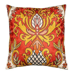 "Modern Silk - Classic Red Floral Accent Pillow Cover Hand Embroidered 18"" x 18"" - This modern pillow cover has classic red juxtaposed with golden floral design making an enticing modern accent pillow for your home. Whether this classic cushion is used in garden, patio, or in a room, on a sofa, chair or chaise, this accent floral pillow is sure to be make a statement."