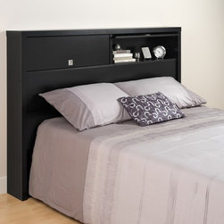 Prepac Black Series 9 Designer 2-Door Headboard - Flip-up doors reveal 2 generously sized storage compartments. Keep books and other personal items safely behind the doors, or flip up the doors up to display your decorative items. The inset, geometric pulls are recessed so that you won't snag hair or clothes. Free standing headboard can be used with any full or queen bed. Constructed from CARB-compliant, laminated composite woods with a sturdy MDF backer.