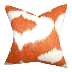 """The Pillow Collection - Leilani Ikat Pillow Bright Orange - As rich as it looks, this decor pillow feels richer with its 55% linen and 45% rayon material. Adorned with an abstract ikat-inspired pattern in bright orange on a white background, this accent pillow is an artistic addition to your indoor space. With its casual style and bold color, this 18"""" pillow is ideal for various settings. Hidden zipper closure for easy cover removal.  Knife edge finish on all four sides.  Reversible pillow with the same fabric on the back side.  Spot cleaning suggested."""