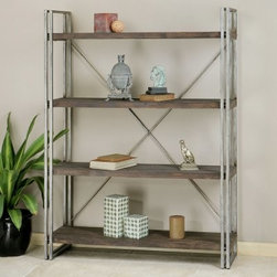 Uttermost Greeley Metal Etagere - Walnut - The Uttermost Greeley Metal Etagere - Walnut is the perfect display center for your fine collectibles, vacation memories, heirloom glassware, or seasonal blooms. Simple antiqued silver metal sides and cross back bars support the four rustic fir wood shelves stained in a natural walnut finish. This open-walled bookcase is the perfect harmony of traditional and contemporary to complement any home. Some simple assembly is required.About UttermostThe mission of the Uttermost Company is simple: to make great home accessories at reasonable prices. This has been their objective since founding their family-owned business over 30 years ago. Uttermost manufactures mirrors, art, metal wall art, lamps, accessories, clocks, and lighting fixtures in its Rocky Mount, Virginia, factories. They provide quality furnishings throughout the world from their state-of-the-art distribution center located on the West Coast of the United States.