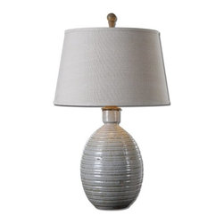 Matthew Williams - Matthew Williams Evigan Blue Ceramic Transitional Table Lamp X-45962 - Crackled light blue ceramic with rustic dark bronze accents. The round tapered hardback shade is a beige linen fabric with light slubbing.