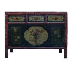 Golden Lotus - Black Vintage Flower Vase Mongolian Table Cabinet - This is a decorative flower graphic Chinese Mongolian style low table with compartment and 3 drawers for storage. Its old vintage accent enriches the interesting tone to the room.