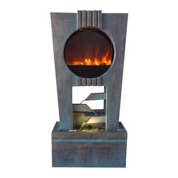 Cascading Fireplace Fountain with LED Lights - This amazing LED fireplace fountain combination unit will add atmosphere and style to your exterior. The LED lighting element simulates the look of real fire - without any fuel or gel. The fountain runs off electricitysimply plug it in and enjoy the beauty of fire and the soothing flow of cascading water. A wonderful addition to a patio, outside dining area or any exterior space. These Ultra Fire LED Light Fountains will make a dramatic center piece in any home or garden. With its elegant modern designs, these fountains bring together fire and water without a real fire. No need for fuel or gel, simply turn on the fountain and watch as our patent pending Ultra Fire LED Light technology replicates real fire.