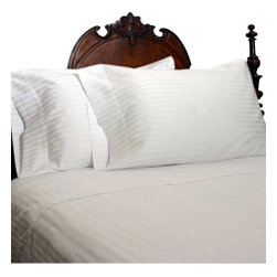 SCALA - 1000Tc Stripe White In King Size Sheet Set - We offer supreme quality Egyptian Cotton bed linens with exclusive Italian Finishing. These soft, smooth and silky high quality and durable bed linens come to you at a very low price as these come directly from the manufacturer. We offer Italian finish on Egyptian cotton, which makes this product truly exclusive, and owner's pride. It's an experience and without it you are truly missing the luxury and comfort!!