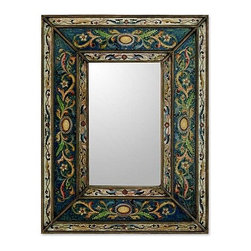 """""""Cajamarca Frost"""" Mirror - The deep peacock color on this Peruvian mirror would be gorgeous in my bedroom. I'm seriously crushing on it!"""