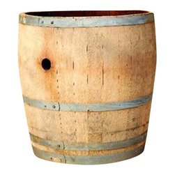 """Master Garden Products - Lacquer Finished Extra Tall Wine Barrel Planter, 26""""H x 26""""W - All colors shown on the pictures may vary because these are made from used wine barrels, each one is different as we get them."""