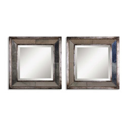 Uttermost - Davion Squares Silver Mirror, Set of 2 - Double up when you find the right accessory. This set includes two lovely beveled mirrors — each in a distressed antiqued silver leaf frame.  Designed by Matthew Williams, these sleek mirrors will give your wall that WOW factor.