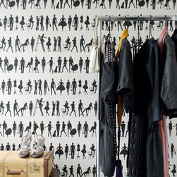 Fashion Wallpaper by Ferm Living - Add some fashion flair to any room in your house, from a closet to a playroom. This black and white wallpaper of graphic silhouettes will always be on-trend.