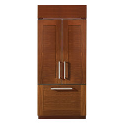 """GE Monogram - GE Monogram® 36"""" Built-In French-Door Refrigerator - Available December 2014 - Monogram craftsmanship is exemplified in the built-in French door refrigerator. Tempered glass, fabricated steel and anodized aluminum emphasize the authentic luxury within each hand-built unit."""