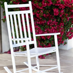 "Dixie Seating Indoor/Outdoor Slat Rocking Chair - White - The Dixie Outdoor Slat Rocker is an American classic. Use this rocker on the front porch or deck to while away the hours in comfort. The protective white finish is designed to withstand the elements and refresh its surroundings. Or place this rocker in a nursery to enjoy soothing motion as you rock your child to sleep. This versatile piece is equally at home in the living room, where it will provide a timeless, familiar piece of Americana. Crafted from durable ash wood right here in the USA, this rocker offers quality you can trust. Its armrests and contoured seat will provide ergonomic comfort as you sit back and enjoy a well-deserved moment of respite. An exclusive rocking chair seat pad designed to fit this rocker is available for added comfort.Easy AssemblyThis rocker ships flat with some assembly required. We recommend a preliminary assembly without gluing to be sure you have all pieces in the correct position. All necessary hardware is included. Assembly takes approximately 30 minutes. This product ships next day, so you can enjoy it fast. Place your order today! About Dixie SeatingIn business since the early 1900's, Dixie Seating Company is a premier manufacturer of solid hardwood ladder back chairs, rockers, stools, and children's furniture. They offer classic, comfortable, colorful furniture with American-made craftsmanship, solid wood construction, and affordability. Serving both the residential and commercial markets, Dixie is the largest domestic manufacturer of round posted seating products. All of Dixie Seating's products are manufactured from select grade North American Ash hardwood. Their unique construction techniques use no glue, but rather a combination of precisely machined components, multiple pressure clamping, interlocking wood-to-wood joints, and a ""swelled joint"" construction. They use metal fasteners at each joinery to ensure long-lasting strength and years of enjoyment for you and your family. While their techniques are old fashioned and follow the guidelines of traditional, hand-built-quality wood working, Dixie Seating products are designed for today's lifestyles."