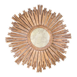 "Worlds Away - Worlds Away - Margeaux Starburst Gold Leaf Mirror - MARGEAUX G - Worlds Away touches the home with marvelous modern treasures inspired by vintage finishes, patterns and styles. In an iconic Art Deco style, the Margeaux Starburst mirror is bold and glamorous. A circular mirror creates a stylish centerpiece as jagged rays form its hand carved wood frame, finished in antiqued goldleaf. Hang this vibrant wall accent alone or in a row or cluster for a dramatic home accent.Features:Margeaux Starburst Gold Leaf MirrorGold Leaf FinishHand carved wood frameMargeaux Starburst mirror is bold and glamorousModern StyleSome Assembly Required Dimensions:�31"" Diameter x 2""D"