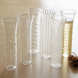 """Horchow - Exclusive Montpellier Flutes - A beautiful set of flutes that make a sparkling statement. Set of six. """"Montpellier"""" flutes in sparkling glass. Each stands 6.75""""T. Imported."""