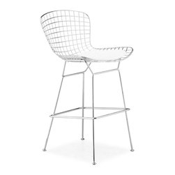 Zuo Modern - Wire Bar Chair Chrome - Sold in Sets of 2 - An icon of Mid-Century modern, the Wire comes in three finishes, chrome, matte black, or matte white, as well as in two heights: dining and bar. It is made of a welded solid steel frame with six cushion color options: black, white, red, orange, green, grey, and espresso. Sold separately.