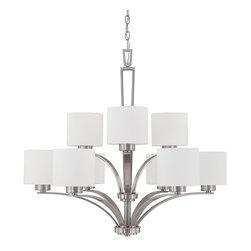 Capital Lighting - Steele 9-Light Chandelier - Brushed Nickel - Steele 9-Light Chandelier.  Available in Burnished Bronze finish or Brushed Nickel finish.  Soft White glass shades.  Takes nine 60W bulbs.  Chain Length: 5'  Wire Length: 10'