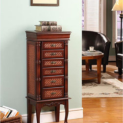 None - Mandalay Cherry 6-drawer Jewelry Armoire - Store all of your precious accessories in this spacious jewelry armoire, away from prying eyes. This six-drawer armoire offers ample room for your necklaces, earrings, and more, and each drawer has a beautiful intricate pattern youll appreciate.