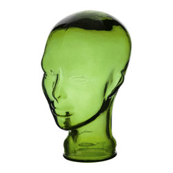 "Traders and Company - Spanish 100% Recycled Glass Emerald Green Head - 11""H - This attractive Spanish recycled glassware will be a welcome addition to your home or dining room decor."