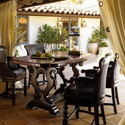 Tommy Bahama Home - Home Sienna Bistro Table Set - False Counter Stool:. Open-cane back and a swivel seat. Upholstered seat. Seat covered with antique leather. Overall: 24.75 in. W x 24.75 in. D x 41.50 in. H (67 lbs.). Seat: 19.75 in. W x 19 in. D x 30 in. H. Arm Height: 37 in.Bistro Table: . Hand hewn top. Decorative nail head trim. Bottom of apron to floor 33.75 in.. Base highly distressed black finish. Top lightly distressed wood finish. Made from mahogany solids, American maple and mahogany veneers. Casis finish. Minimal assembly required. 64 in. L x 38 in. W x 36 in. H (167 lbs.). Care Instructions for your Lexington Furniture productKingstown is a relaxed traditional collection inspired by British Colonial style, with a hint of Campaign and a touch of safari. The Tamarind finish is a rich aged black with rub-through to crimson and gold undertones beneath. The evocative designs provide a sense of a well-traveled life.of items hand selected during journeys around the globe.