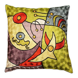 "Modern Silk - Miro Cushion Cover Pajaros II Sage Green Hand Embroidered 18"" x 18"" - While this design is reminiscent of Joan Miro's ""Vuelo de Pajaros"" (Bird Flight), the Kashmiri designer has created other whimsical Miro-esque figures as well. Sun and moon, birds and sea creatures, perhaps, running along the beach. The fine chain stitch work of world-class Kashmiri handcrafters and artisans is comprised of swirls of soft Kashmir wool thread as unique as your fingerprint.  The whole cotton base of the pillow is covered with the soft wool embroidery creating a tightly stitched form that will endure. Each Kashmiri pillow cover sports a button closure at the back."