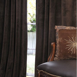 Half Price Drapes - Signature Java Blackout Velvet Pole Pocket Single Panel Curtain, 50 X 84 - - Soft plush pile Velvet Curtains have a natural luster with a depth of color that creates a formal, polished look. Made of high-quality, poly velvet and soft flowing polyester blackout thermal lining. The curtains keep the light out and provides for optimal insulation.   - Single Panel   - 3 Rod Pocket   -   - Pole Pocket with Back Tab & Hook Belt Attached. Can be hung using rings. (Not Included)   - Dry clean   - 100% Poly Velvet   - Lined with a 100% Polyester Plush Blackout Material   - 50x84   - Imported   - Brown Half Price Drapes - VPCH-190912-84