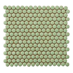 Penny Round  Light Green Porcelain Mesh-Mounted Mosaic Tile - Penny rounds are adorable, and this mint green would be so sweet in an all-white kitchen with coral accents.