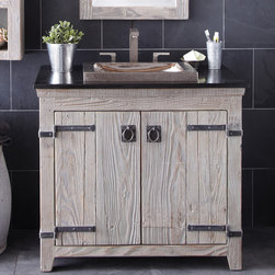 """Native Trails 36"""" Americana Vanity in Driftwood - Character is a thing of the past. Handcrafted by American artisans from reclaimed wood, each Americana Vanity has a character as rich as its history. Its beautifully textured wood, rescued from structures of the past: old barns, homesteads, and fencing, has stood the test of time. These strong heirloom pieces lend soulful presence and are complemented with hand-forged iron hardware. Available in 24"""", 30"""" and 36"""", each in Chestnut, Whitewash, Anvil, and Driftwood finishes. Pair with any of our stone or copper vanity tops."""