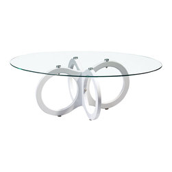 Global Furniture - Global Furniture USA T715 Oval Glass Coffee Table w/ High Gloss White Legs - This glossy white table complete with a glass top has plenty of geometric style and will surely be the talk of your living or family room.