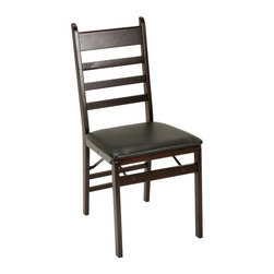 Cosco Office - Wooden Folding Chair - Set of 2 - Set of 2. Stylish and sturdy. Built to last sturdy wood construction. Low maintenance and long lasting padded vinyl upholstered seat. Seat cleans and lifts for an easy fold. Saves space and time. Folds flat and folds up tight and compact for easy storage. Warranty: One year. Espresso finish. 20.85 in. W x 16.9 in. D x 34.8 in. H (11.66 lbs.)
