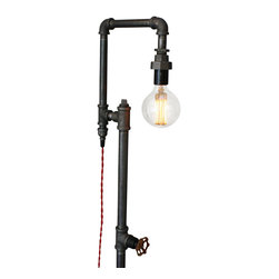 Peared Creation - Industrial Style Floor Lamp - This lamp is a truly unique lighting solution with many applications. A rotating faucet handle serves as a switch to turn the light on and off, a new feature we are excited about!
