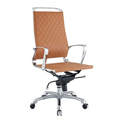 Modway Furniture - Modway Vibe EEI-232-TAN Office Chair in Tan - EEI-232-TAN Office Chair in Tan belongs to Vibe Collection by Modway Instill some panache to your office with a chair that says it all. Vibe's modern style reverberates from start to finish. From its diamond patterned leather seat and back, to its high polished chrome frame, if ever there was a chair that turned seating into an artform it would be Vibe. Conveniently adjust your seating position with an easy to use seat tilt lever.The five-star hooded chrome base comes fitted with casters appropriate for any floor. Vibe is also height adjustable with its powerful pneumatic lift. The upward angle of the arms both adds to the distinguished nature of the piece, and helps you properly position your wrists for typing. The chair also comes fully equipped with a tension knob that allows you to personalize the back tilt to fit your particular build and posture. Vibe works just as well in smaller spaces as it does in spacious conference rooms. If you're looking for a modern chair with a bit of vivacity to it, then you've found your match. Set Includes: One - Vibe Modern Leather Highback Office Chair Office Chair (1)