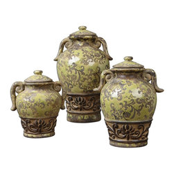 "Uttermost - Uttermost Gian Crackled Green Containers, Set of 3 19716 - Distressed, crackled green ceramic with etching and antiqued khaki undertones. Small size: 7""W x 8""H x 5""D, Medium size: 7""W x 11""H x 6""D, Large size: 8""W x 13""H x 7""D."
