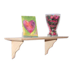 Welland - Classic Solid Wood Wall Shelf - The pressure is off to display beautiful heirlooms when you choose this solid wood wall shelf. Even your collection of old college mugs will look nice when placed upon the delicately carved brackets of this shelf.