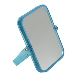 Magnifying Dual-Sided Pivot Mirror Rectangular Shape Blue - This magnifying dual-sided pivoting mirror features a colorful transparent plastic frame. This rectangular shape mirror rotates side to side providing versatile viewing. The 2X magnification side is ideal for makeup application, tweezing or other grooming tasks and the regular side is ideal for all-around hairstyling and cosmetics. Conveniently folds for travel and storage. Dimensions are length of 6.10-Inch, height of 7.48-Inch and diameter of 0.87-Inch. No assembly required. Clean with warm soapy water. Color blue. This magnifying pivoting mirror is perfect for use on any countertop or travels and is an ideal complement to virtually any bathroom decor! Complete your decoration with other products of the same collection. Imported.