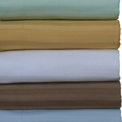 Luxor Linens - Caterina Stripe Pillow Case Set, Standard, Sky - The feeling of luxury is in every inch of these exclusive Luxor Linens 600 thread count  Cases. 100% Egyptian cotton sateen is heightened by the fabrics sateen stripe so intricate, every line and swirl and curve of it is synchronized like a symphony.