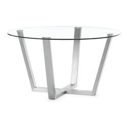 Zuo Modern - Brush Dining Table - With the Brush dining table's clear circular glass top and stainless steel frame, any space transforms into a more functional and well designed atmosphere.