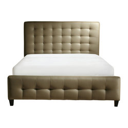 Zen Collection, Queen Size Bonded Leather Tufted Bed