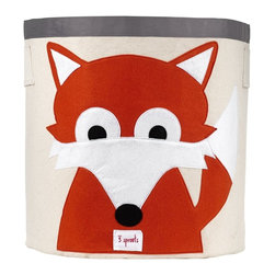 3 Sprouts - 3 Sprouts Storage Bin, Fox - Help your kids clean up their acts with our cute fox pattern animal storage bins in orange from 3 Sprouts . This bin is well sized for storing toys or as a laundry hamper. The bin collapses for easy storage when not in use. It is made up of 100% cotton canvas and coated on the inside for easy cleaning. It is the perfect gift for babies and toddlers.