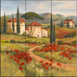 The Tile Mural Store (USA) - Tile Mural - Tuscan Dream I  - Kitchen Backsplash Ideas - This beautiful artwork by Barbara Mock has been digitally reproduced for tiles and depicts a tuscan scene of houses, a vineyard and cypress trees  With our enormous selection of tile murals of tropical plants and flowers you can bring your kitchen backsplash tile project to life. A decorative tile mural with plants and flowers is an impressive kitchen backsplash idea and decorative flower tiles also work great in the bathroom. Add splashes of color and life to your tile project with images of flowers on tiles and tiles with pictures of plants.