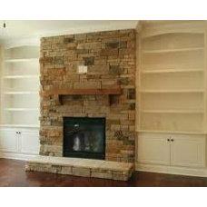 tv on stone fireplace - Google Search