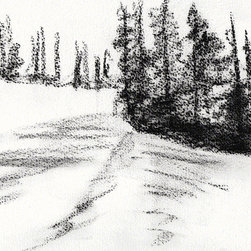 "Ann Rea - Bring home Dear Valley, Utah with ""Shadowed Snow"" charcoal on paper by Ann Rea - ""The shadowed colors of these pines bled down the afternoon snow."" -Ann Rea"