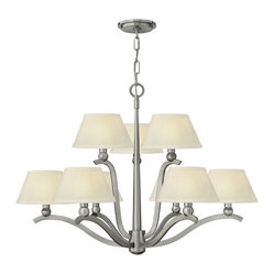 Hinkley Lighting - Whitney 9-Light Chandelier - Whitney features classic, curved arms that extend from the clean wedged center column in a Brushed Nickel finish. The sleek design is complemented by the bold cast metal ball details transitioning into a metal candle sleeve and textured off-white shade.