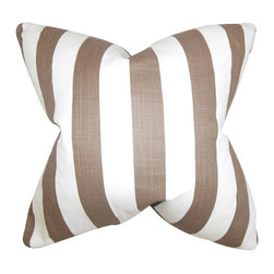 "The Pillow Collection - Ilaam Stripes Pillow, Brown 18"" x 18"" - Spruce up your space with this striking accent pillow."